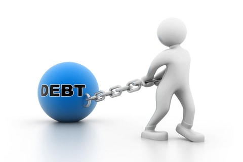 Image of a stick man dragging a ball and chain of debt which can be solved through mortgage refinancing